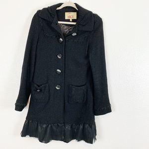 BKE Women's Black Wool Blend Lace Long Coat Medium